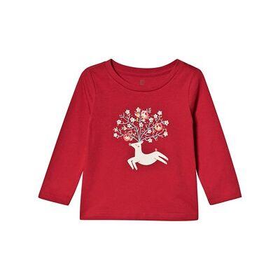 GAP Deer Top Modern Red med Lange Ærmer 5 år - Børnetøj - GAP
