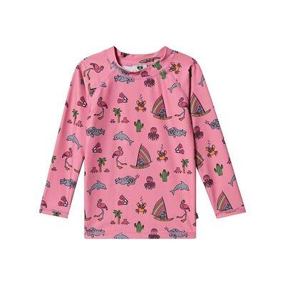 Småfolk UV50 Langærmet T-shirt med Kort og Sea World Sea Pink 2-3 år - Børnetøj - Småfolk