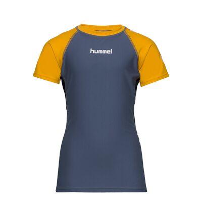 Hummel Hmlzab Swim Tee S/S Swimwear UV Clothing UV Tops Blå Hummel - Børnetøj - Hummel