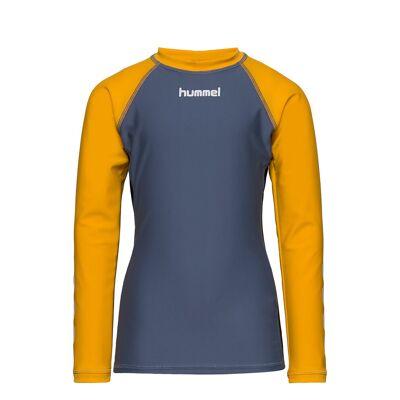 Hummel Hmlbrisbane Swim Tee L/S Swimwear UV Clothing UV Tops Blå Hummel - Børnetøj - Hummel