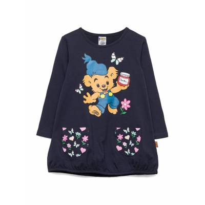 Lindex Top Long Bamse With Pockets Langærmet T-shirt Blå Lindex - Børnetøj - Lindex