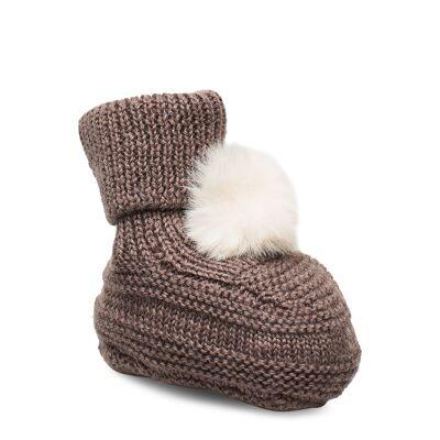name it Nbmwrilla Wool Knit Slippers W/Dot Xix Slippers Hjemmesko Brun Name It - Børnetøj - name it