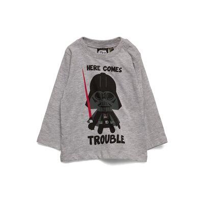 Star Wars Ts Ml Full Print Langærmet T-shirt Grå Star Wars - Børnetøj - Star Wars