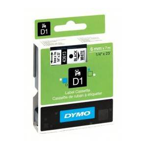 Dymo D1 43613 / S0720780 Sort tekst / Hvid tape 6 mm x 7 m tape - Original