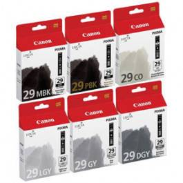 Canon PGI 29 combo pack 6 stk blækpatron MBK/PBK/DGY/GY/LGY/CO 216 ml