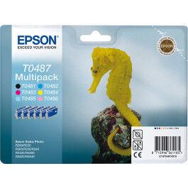 Epson T0487 CMYK LC LM (T0481/T0482/T0483/T0484/T0485/T0486), Blækpatron, Sampak 6 stk,