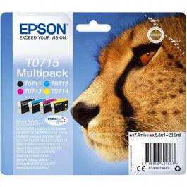 Epson T0715 CMYK combo pack 4 stk blækpatron BK/C/M/Y 23,9 ml