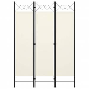vidaXL 3-panels rumdeler 120x180 cm cremefarvet