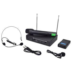 vidaXL modtager med 1 trådløs mikrofon og 1 trådløst headset VHF
