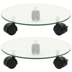 vidaXL plantevogne 2 stk. hærdet glas 28 cm rund