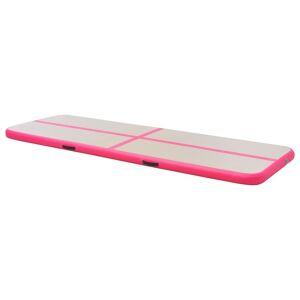 vidaXL oppustelig gymnastikmåtte med pumpe 700 x 100 x 10 cm PVC Pink