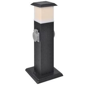 vidaXL Sort kontaktsokkel med lampe til haven