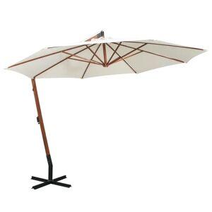 vidaXL hængende parasol 350 cm træstang hvid