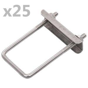 vidaXL U-formet forbindelsesklemme til hegn 25 sæt 60 x 40 mm