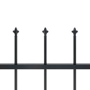 vidaXL havehegn med spydtop 1,7 x 0,8 m stål sort