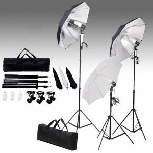 vidaXL studiobelysningssæt 24 watt stativer paraplyer