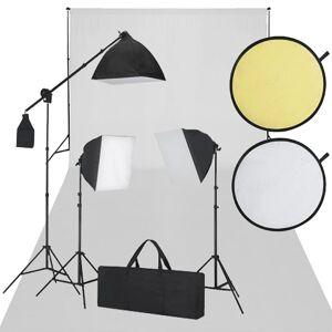 vidaXL studiosæt m. hvid baggrund 3 dagslyslamper reflektor