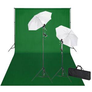 vidaXL studiosæt med grøn fotobaggrund og lamper 600 x 300 cm