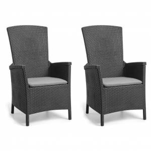 Allibert lænestole til haven Vermont 2 stk. grafitgrå