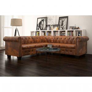 vidaXL Chesterfield 5-personers sofa i kunstlæder brown