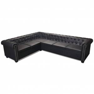 vidaXL Chesterfield 6-personers hjørnesofa kunstlæder sort