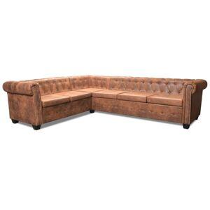 vidaXL Chesterfield 6-personers hjørnesofa kunstlæder brun