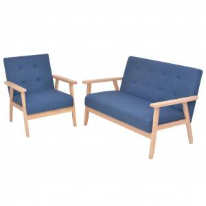 vidaXL sofasæt i 2 dele stof blå
