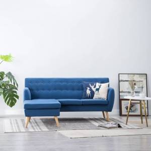 vidaXL L-formet sofa i stofbeklædning 171,5 x 138 x 81,5 cm blå