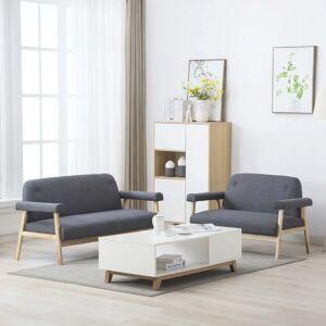 vidaXL 5-personers sofasæt i 2 dele stof mørkegrå