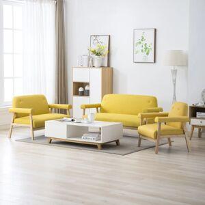 vidaXL 6-personers sofasæt i 3 dele stof gul