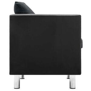 vidaXL 2-personers sofa kunstlæder sort og mørkegrå