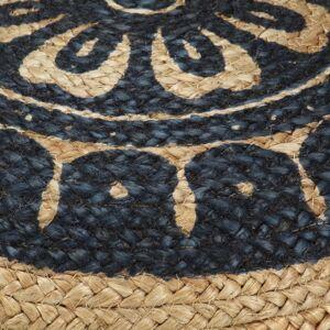 vidaXL håndlavet puf 45 x 30 cm jute blå