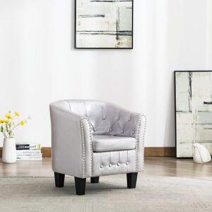 vidaXL lænestol kunstlæder blank sølvfarvet