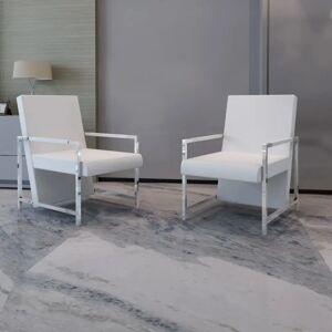 vidaXL lænestole 2 stk. forkromet stel kunstlæder hvid