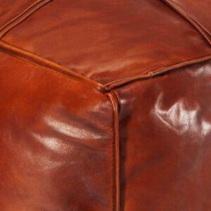 vidaXL puf 60 x 60 x 30 cm ægte gedeskind gyldenbrun