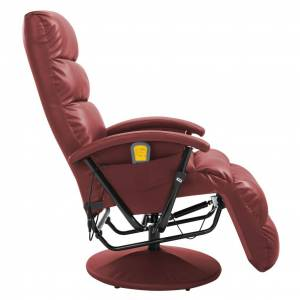 vidaXL massagelænestol vinrød kunstlæder