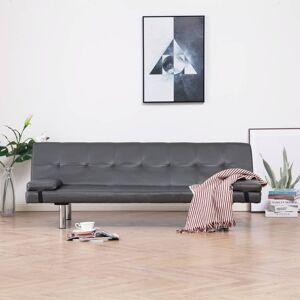 vidaXL sovesofa med to puder kunstlæder grå