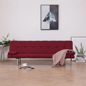 vidaXL sovesofa med to puder polyester rødvinsfarvet