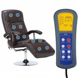 vidaXL massagestol brun kunstlæder