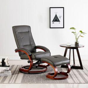 vidaXL lænestol med fodskammel grå kunstlæder