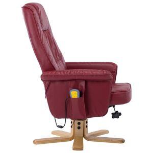 vidaXL massagelænestol med fodskammel vinrød kunstlæder