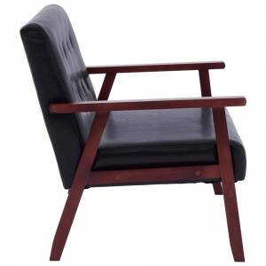 vidaXL 2-personers sofa kunstlæder sort