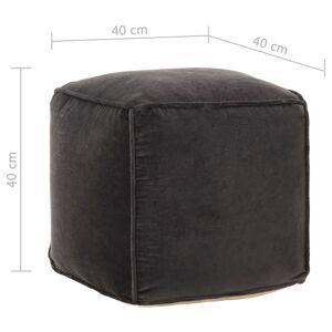 vidaXL puf bomuldsfløjl 40 x 40 x 40 cm antracitgrå