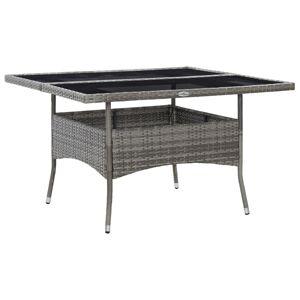 vidaXL udendørs spisebordssæt 9 dele polyrattan og glas grå