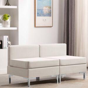 vidaXL midtersæder til sofa 2 stk. med hynder stof cremefarvet