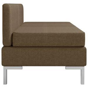 vidaXL midtersæder til sofa 2 stk. med hynder stof brun