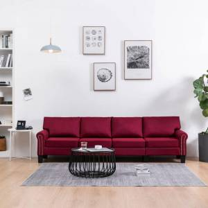 vidaXL 4-personers sofa stof vinrød