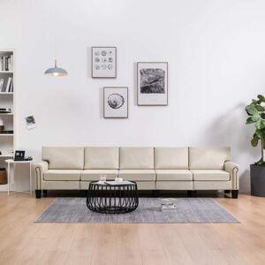 vidaXL 5-personers sofa stof cremefarvet