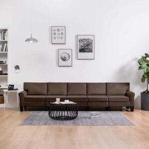vidaXL 5-personers sofa stof brun