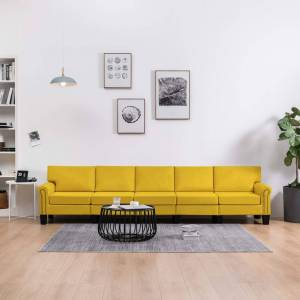 vidaXL 5-personers sofa stof gul